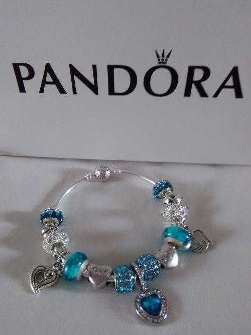 Authentic Pandora Bangle, Auqua European Charm Bracelet