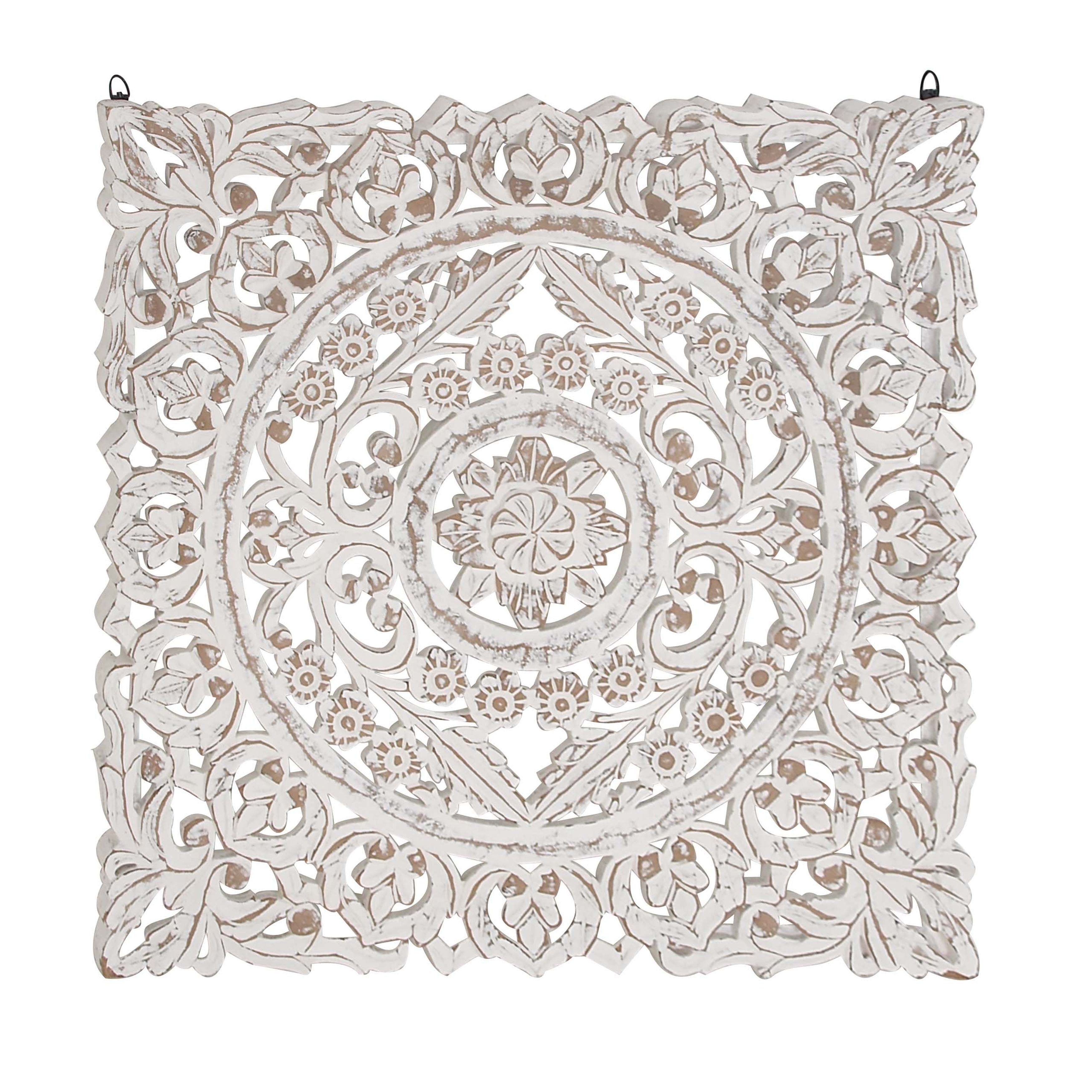 Rustic Wood Whitewashed Floral Medallion Wall Panel Medallion Wall Decor Wood Panel Walls Wall Paneling