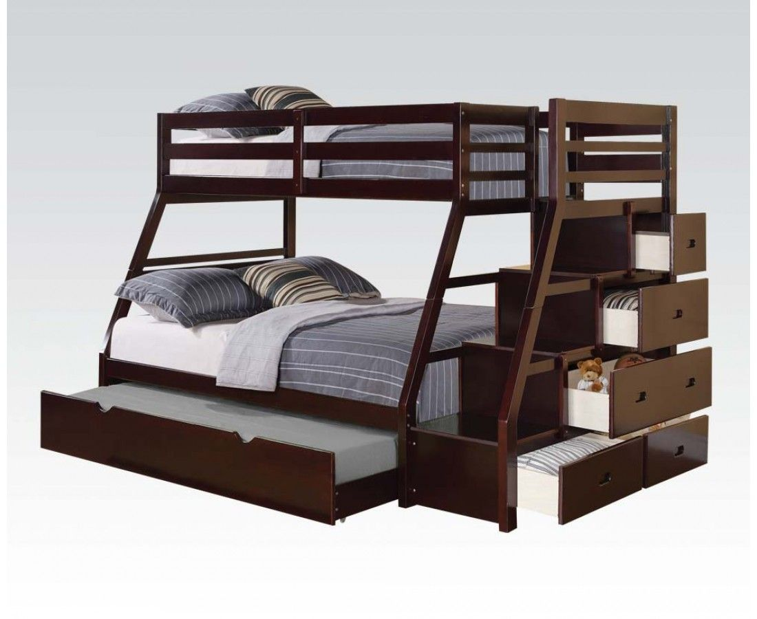 Jason espresso wood twin full bunk bed w storage ladder for Wood twin bed with storage
