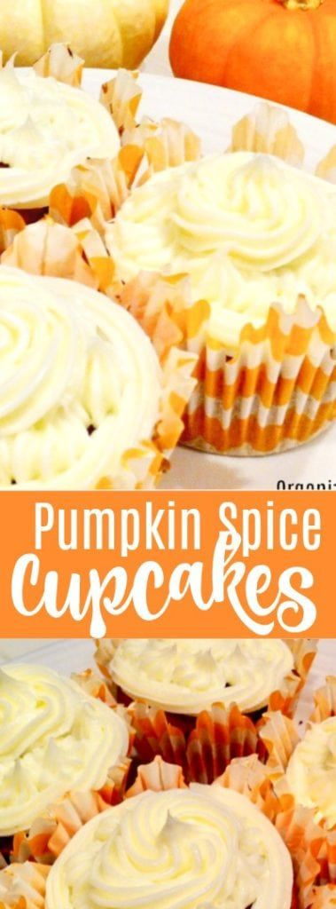 Easy pumpkin spice cupcakes - made with a boxed mix. So easy!    #pumpkin #spice #cupcakes #sweet #dessert #easy #snack #pumpkinspicecupcakes