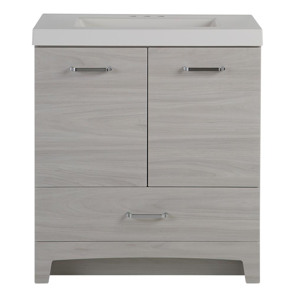 Glacier Bay Stancliff 31 In W X 19 In D Bathroom Vanity In Elm Sky With Cultured Marble Vanity Top In White With White Sink St30p2 Ek The Home Depot Cultured Marble