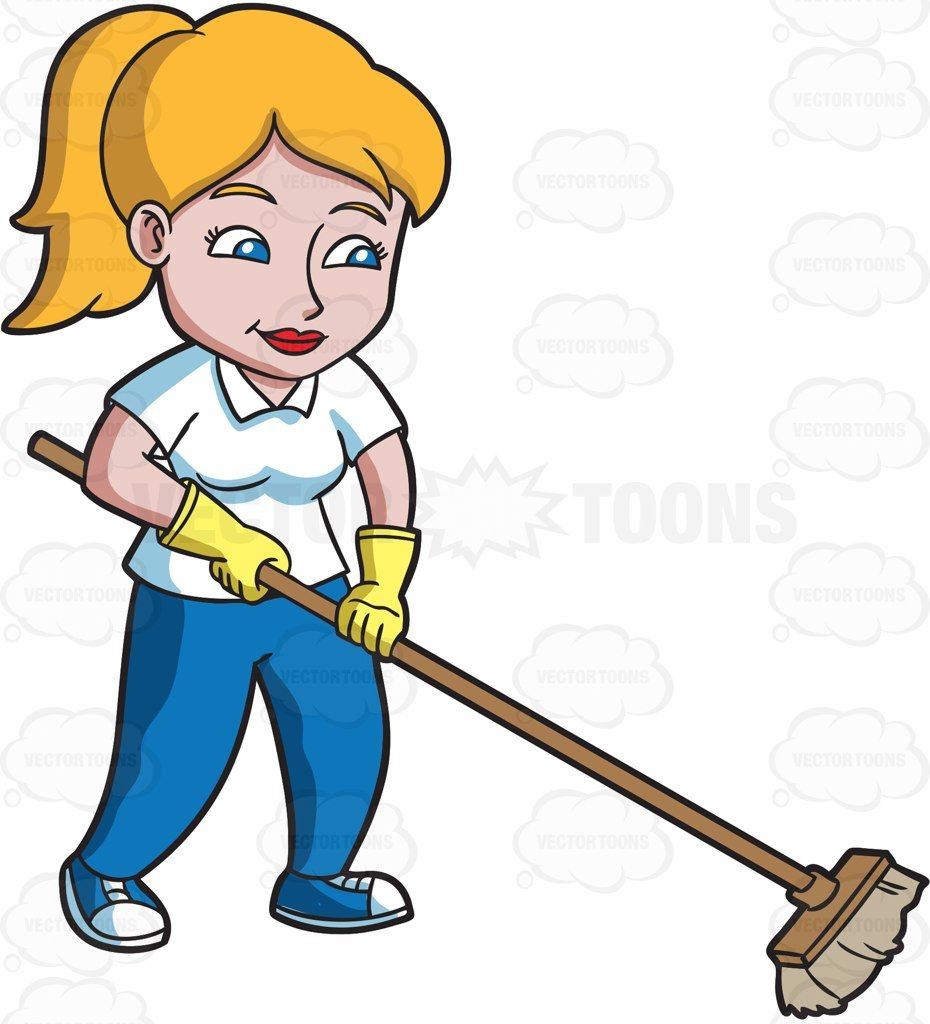 a woman sweeping the floor yellow gloves blue pants sweep the floor floor yellow gloves blue pants