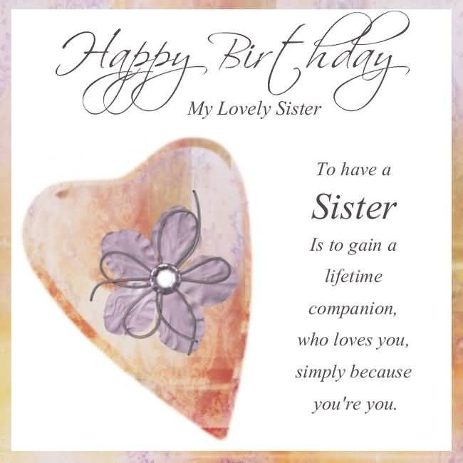 Sweet Greetings Happy Birthday For Lovely Sister – Happy Birthday Card for My Sister