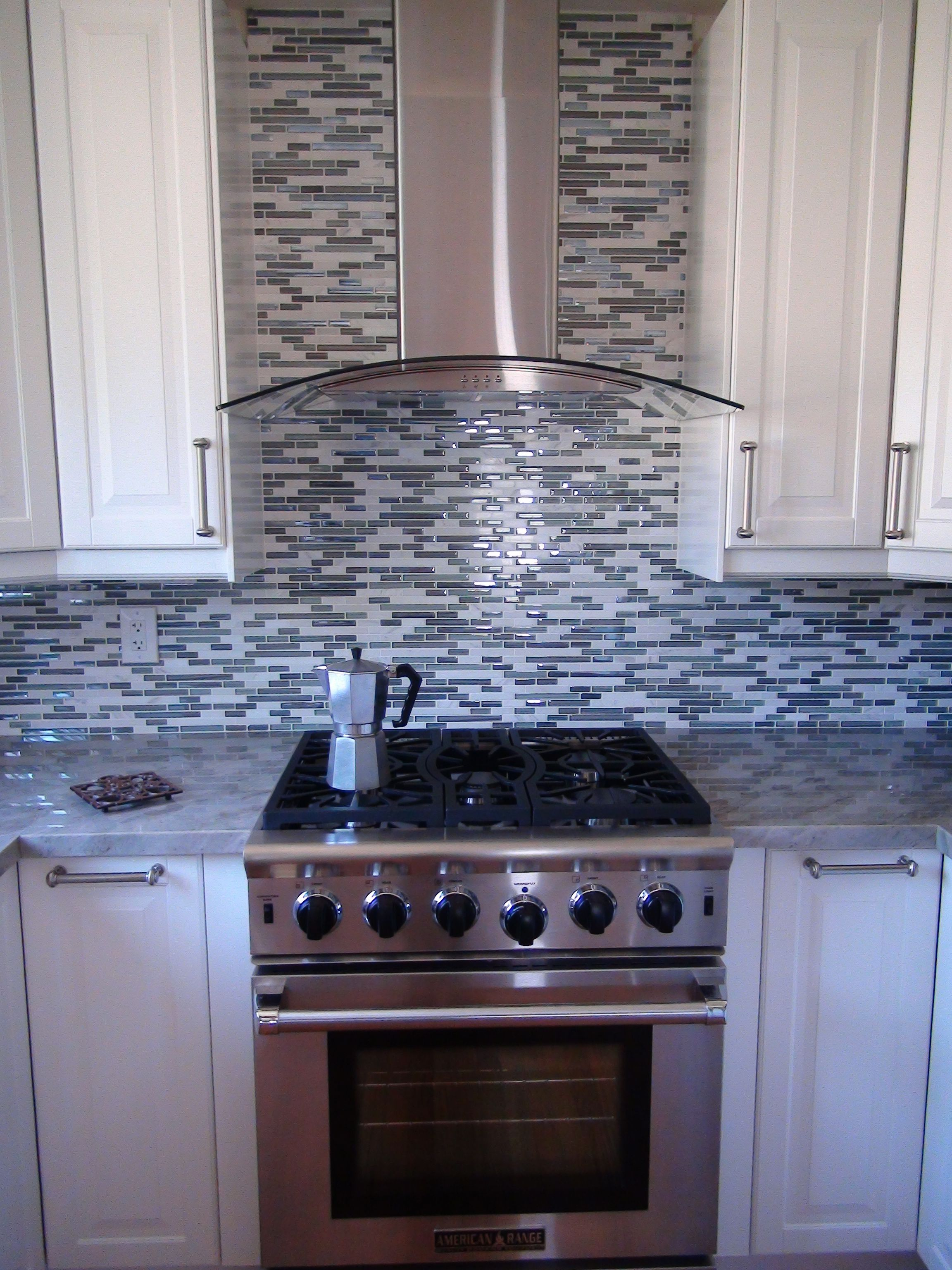 Back splash by Elysium Milano glass mosaic tile in Blue, | Kitchen ...