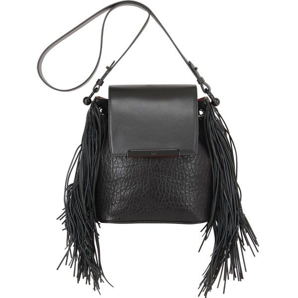 27846767b6 CHRISTIAN LOUBOUTIN Lucky L Fringed Leather Bucket Bag - Black ($1,830) ❤  liked on Polyvore featuring bags, handbags, shoulder bags, black, leather  ...