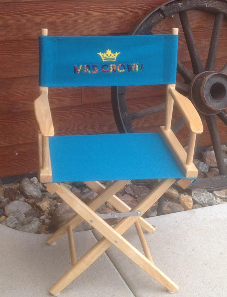 director s chair custom embroidered for a teacher crayon font