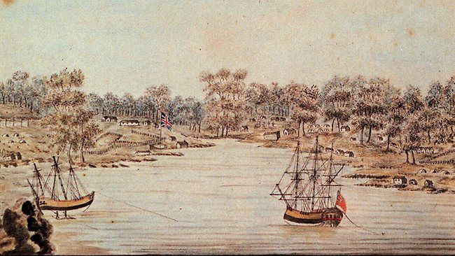 Captain Arthur Phillip and the First Fleet arriving in