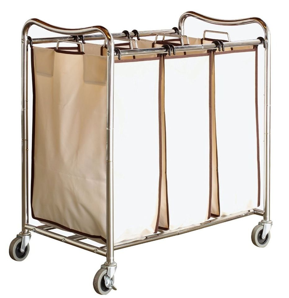 Large Laundry Sorter Heavyduty 3Bag Laundry Sorter Rolling Cart Chrome Metal Laundry