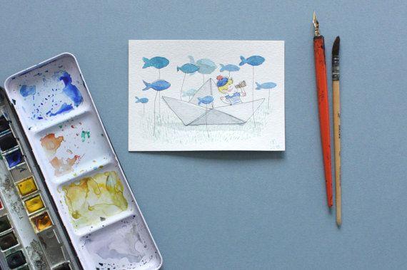 Petite illustration aquarelle Petit marin et son navire en papier