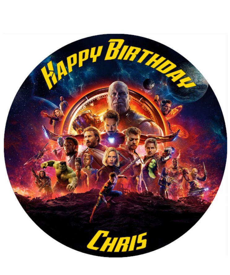 Avengers infinity war personalised edible birthday cake
