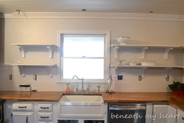 Our New Open Kitchen Shelves | Kitchen shelves, Kitchens and Countertop
