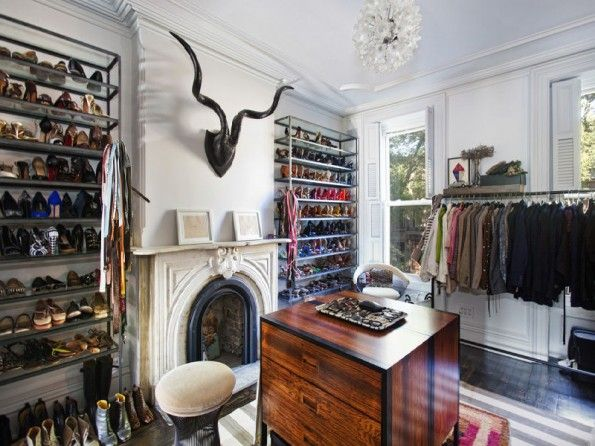 Closet in Jenna Lyons' house in Brooklyn. via From The Right Bank blog