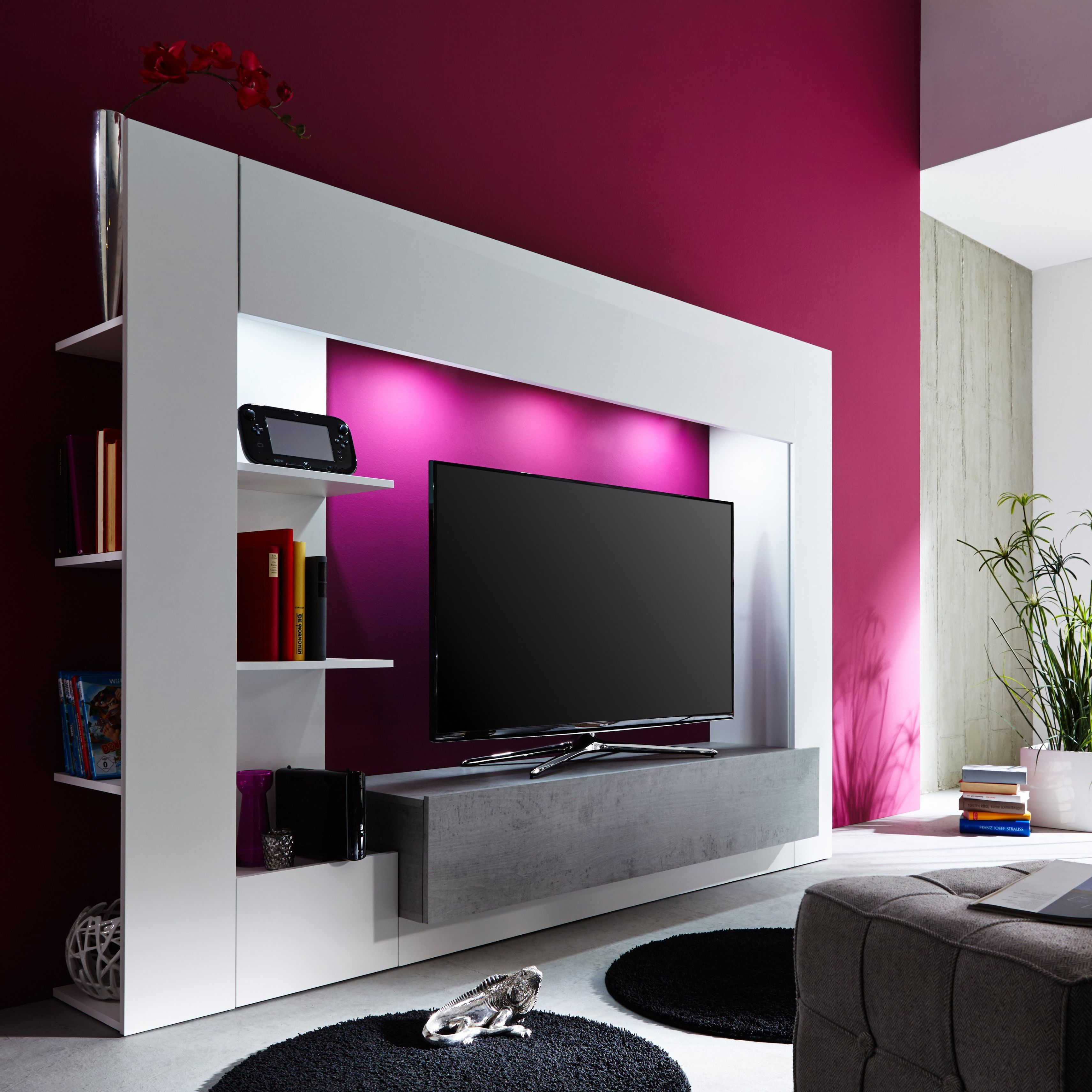 die moderne tv wohnwand harry bietet viel stauraum f r dvds b cher und deko das klare design in. Black Bedroom Furniture Sets. Home Design Ideas