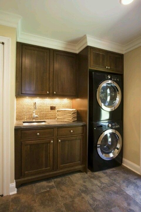 Laundry Room Design For Smaller Spaces An Excellent Use Of The Space Full Size Stackable Washer And Dryer Leave A Counter Sink Cabinets