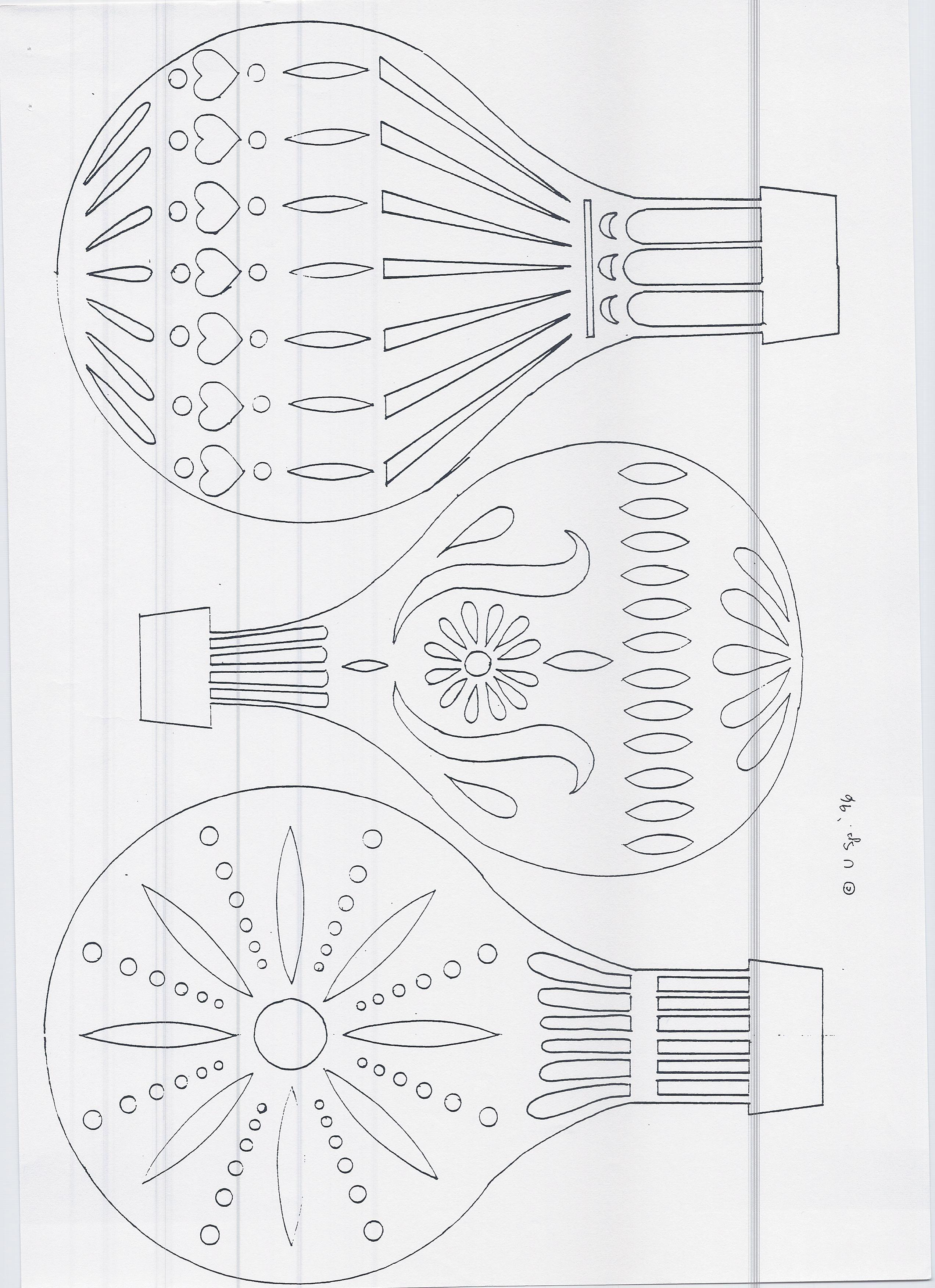 DIY: Hot air balloon x3. Free Paper craft; stencil