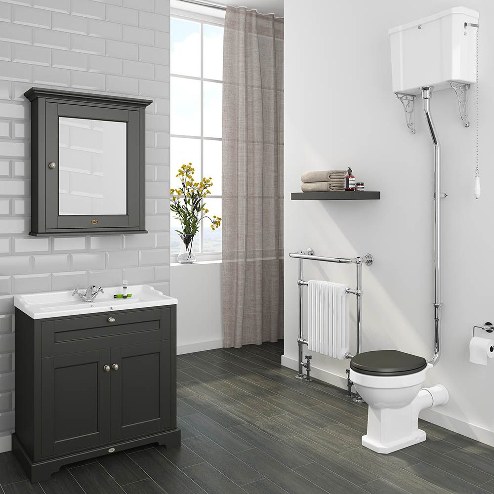 Downton Abbey Traditional 800mm Charcoal Sink Vanity Unit High Level Toilet Victorian Plumbing Uk