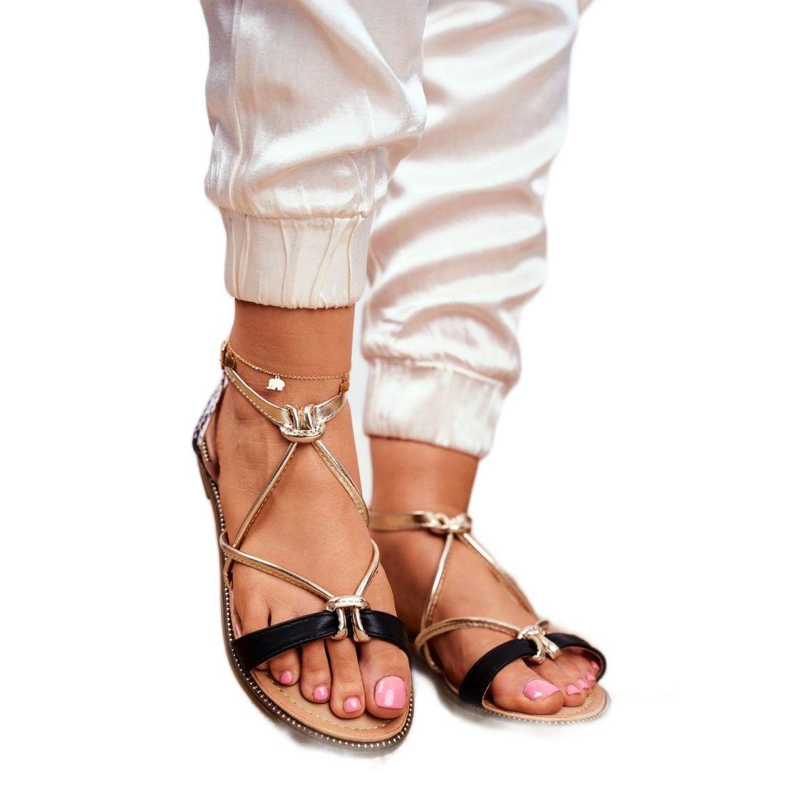 S Barski Sandaly Damskie Plaskie Czarno Zlote Barski Samim Czarne Zolte Fashion Shoes Sandals