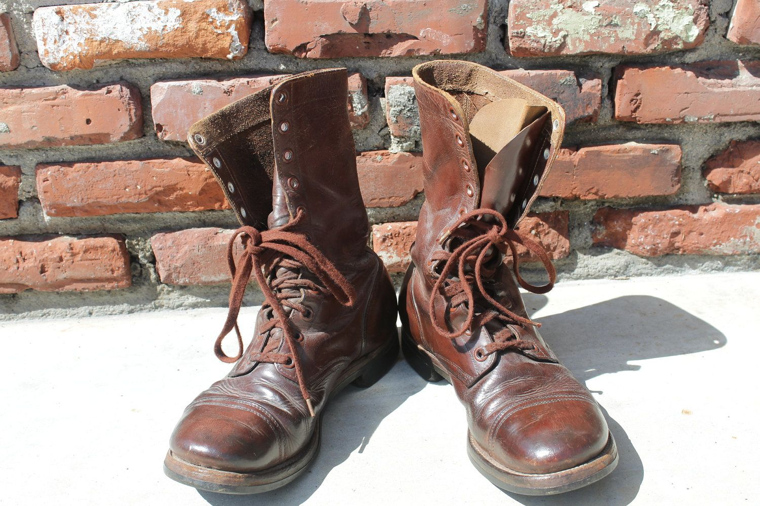 Vintage 1950s Brown Leather Combat Boots Paratrooper Mens size 11 ...