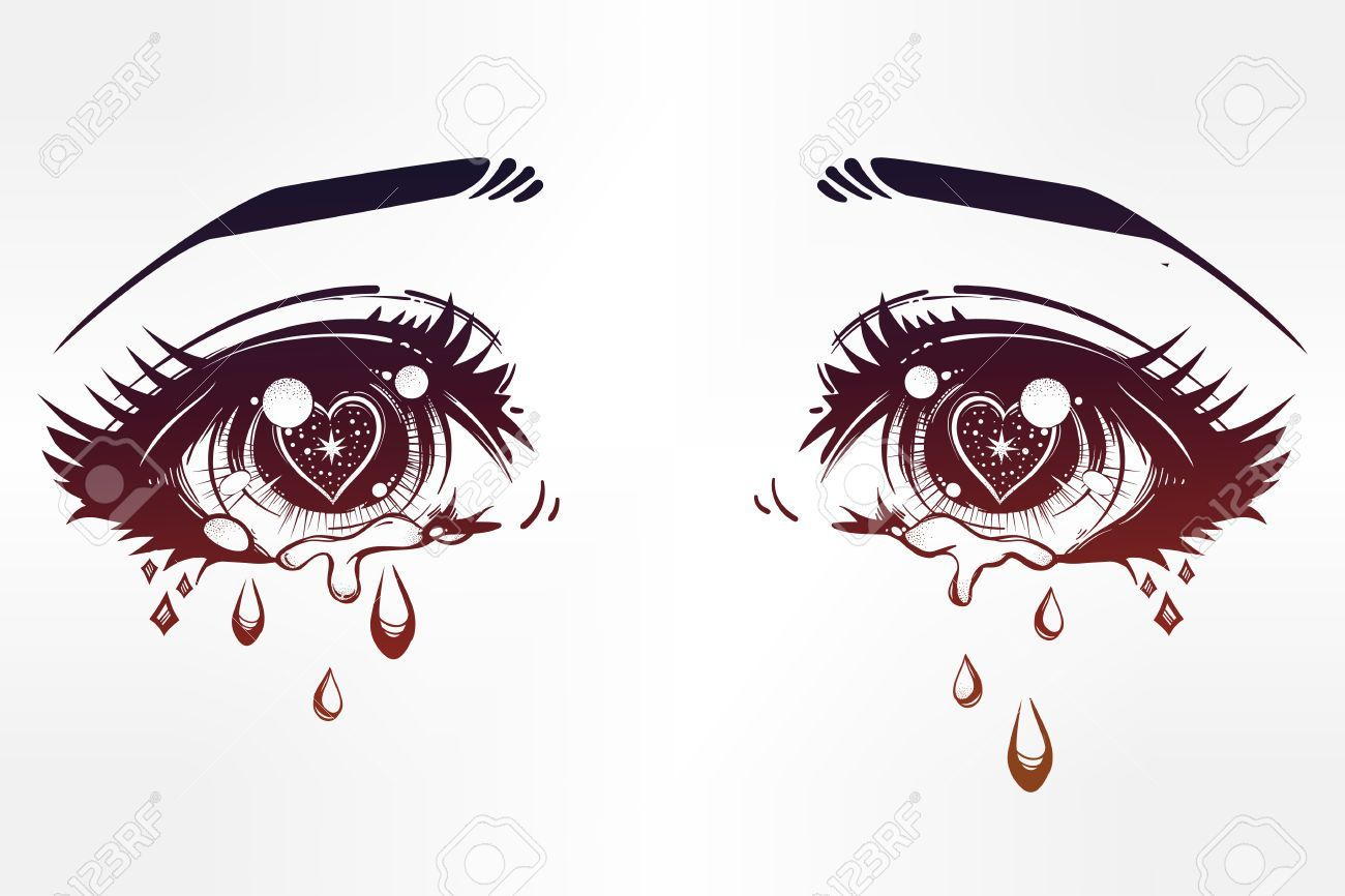 Anime Eyes Crying Beautiful Eyes In Anime Or Manga Style With