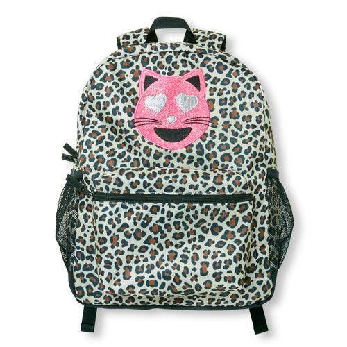 5f42e42ed271 Girls Glitter Love Cat Emoji Leopard Print Backpack - Black - The  Children s Place