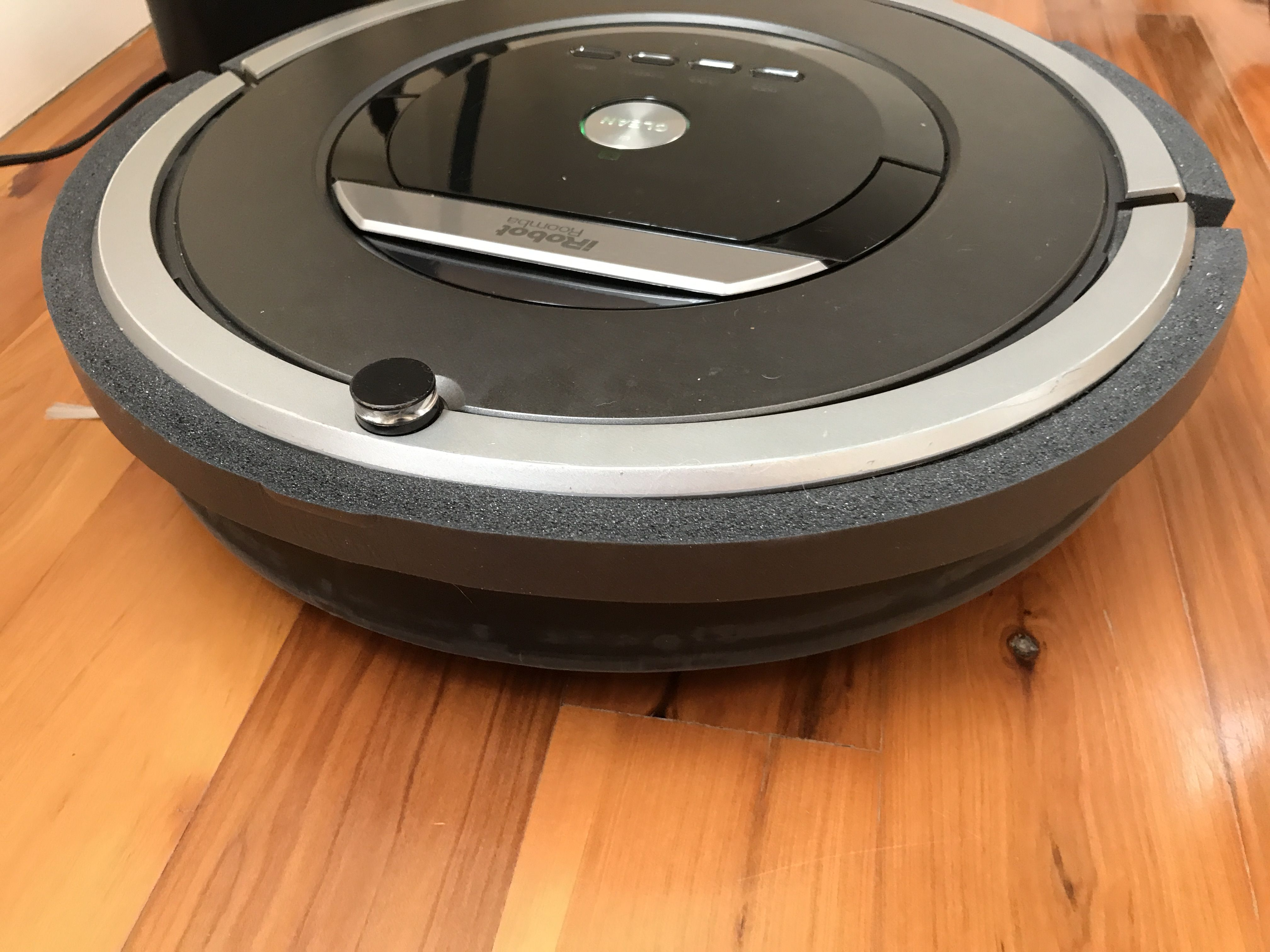 Roomba Bumper Hack I used Duck weather stripping. $4.00 from Amazon. Works great. No more marks in furniture and Roomba is so quiet now.
