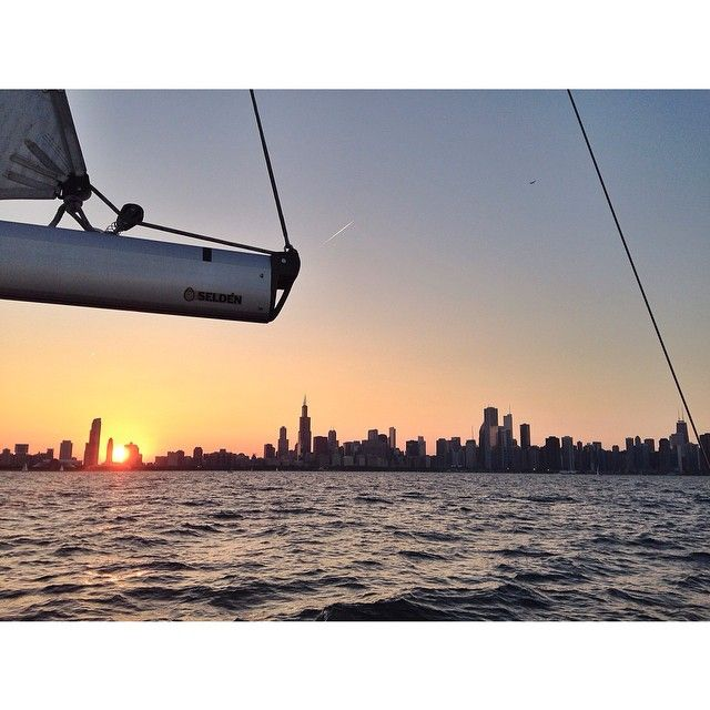 Chicago sunset while sailing