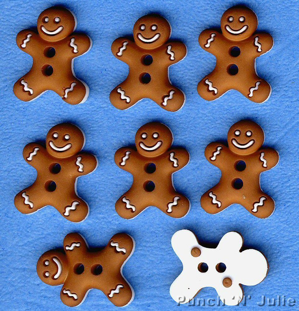 ICED COOKIES - Christmas Gingerbread Man Men Novelty Dress It Up Craft Buttons