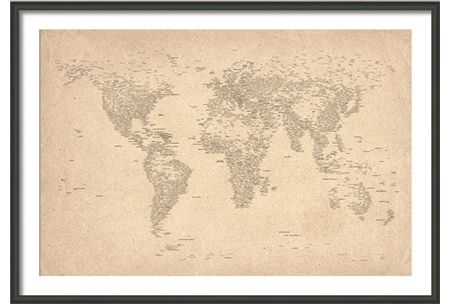 Typography world map of cities medium black wooden frame stuff typography world map of cities medium black wooden frame gumiabroncs Choice Image