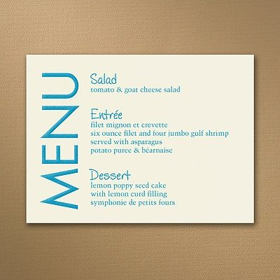 Hearts And Banners Menu Cards Ecru Get Guests Ready For Your Wedding Dinner