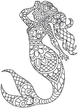 Inspired By Traditional Indian Henna This Graceful Mermaid Takes Shape With Intricate Detail Stitch On Mermaid Coloring Pages Mermaid Coloring Mermaid Images