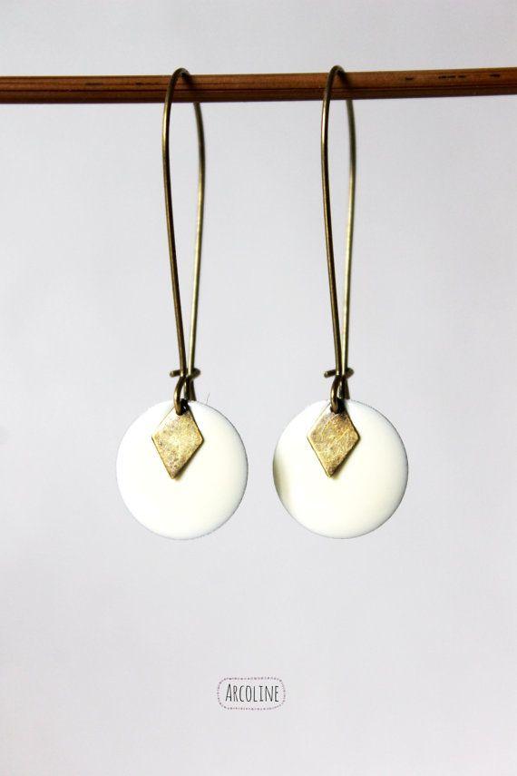 Boucles d'oreilles sequins émaillé blanc crème par arcoline sur Etsy