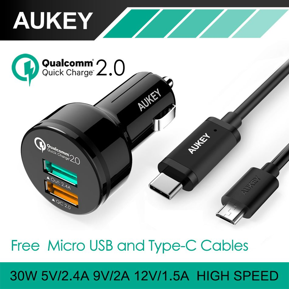 Aukey Quick Charge 2 0 Universal Dual Usb Fast Car Charger Adapter For Mobile Phones Iphone Samsung Tablet Pc With Type C Cable Charger Car Usb Samsung Tablet