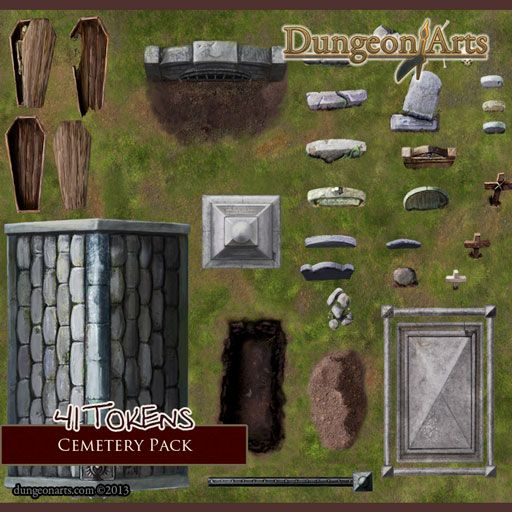 Cemetery Pack Fantasy Map Objects For Use In Tabletop