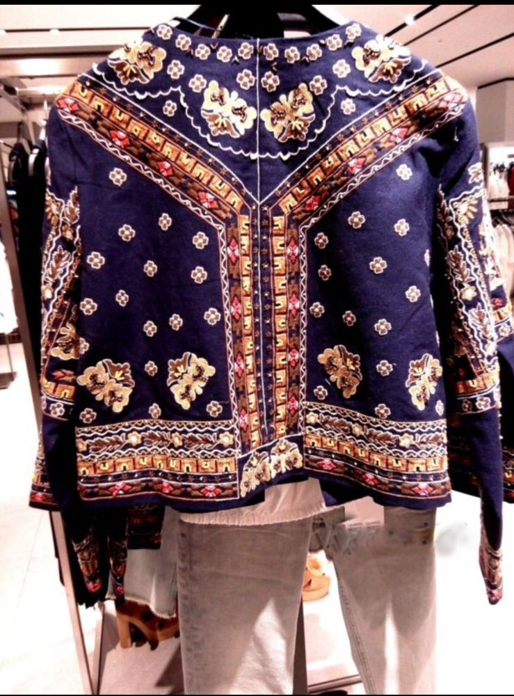 Bnwt zara embroidered jacket floral ethnic aztec navy blue