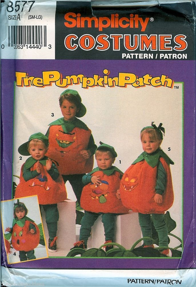 Simplicity Pumpkin Patch Kids Pattern UNCUT 8577 sz S M L Costumes ...