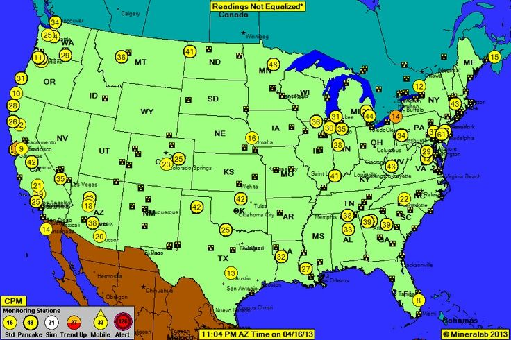 National Radiation Map, depicting environmental radiation levels across the USA, updated in real time every minute