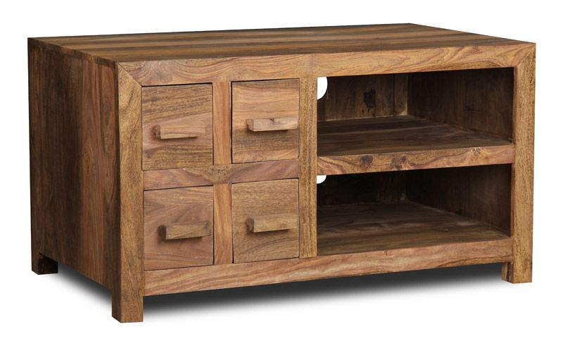 Our Natural Wooden Sheesham Tv Video Cabinet Is Handmade And