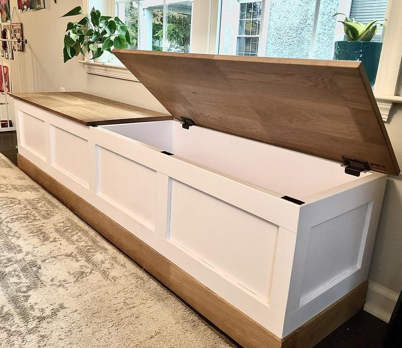 Storage bench with oak trim and lid