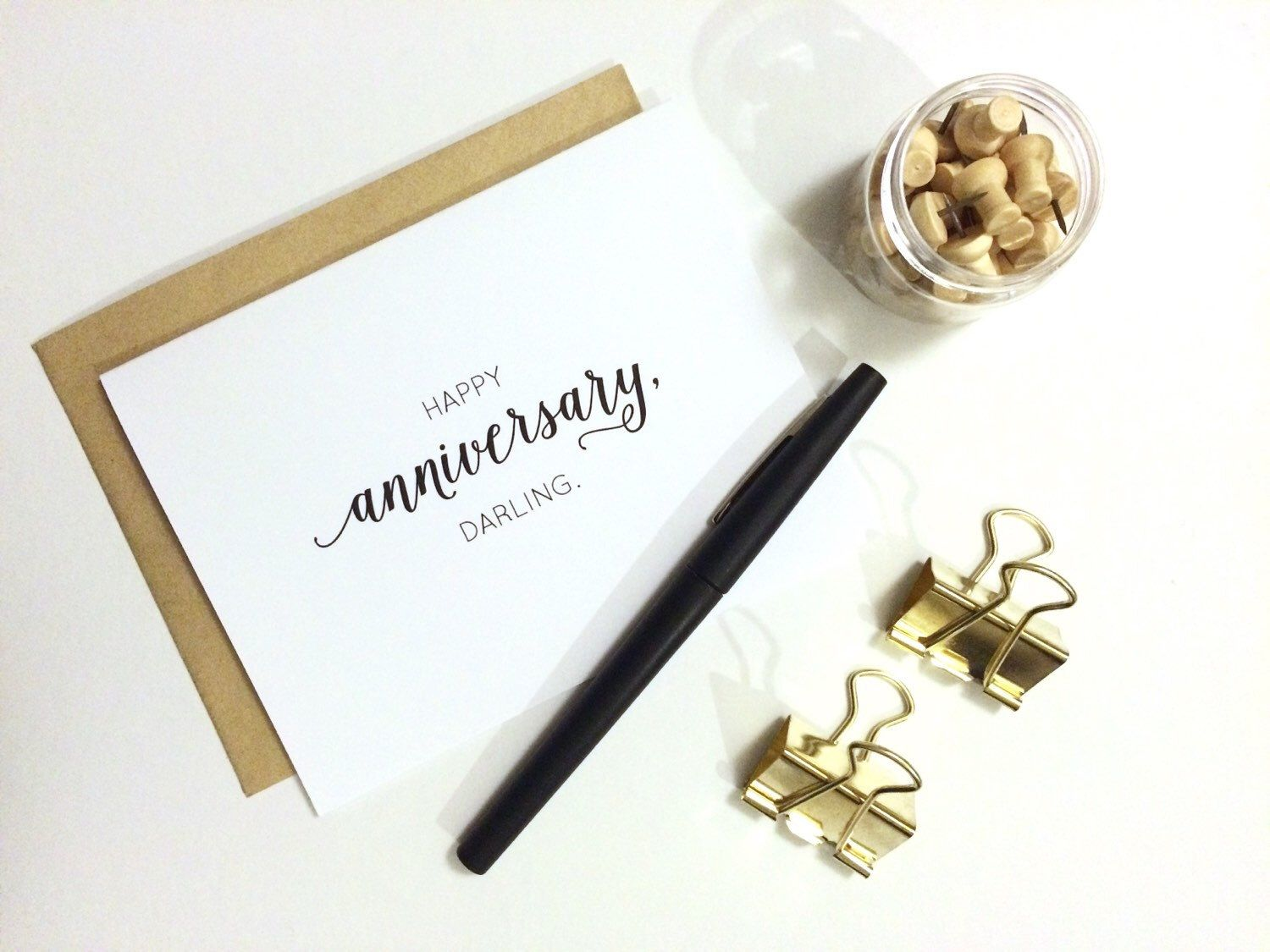 Happy anniversary darling. a modern calligraphy anniversary card