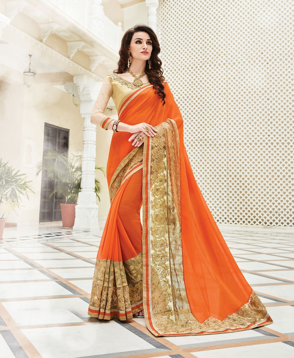 1b406a0cc Orange Georgette Party Wear Saree 78677