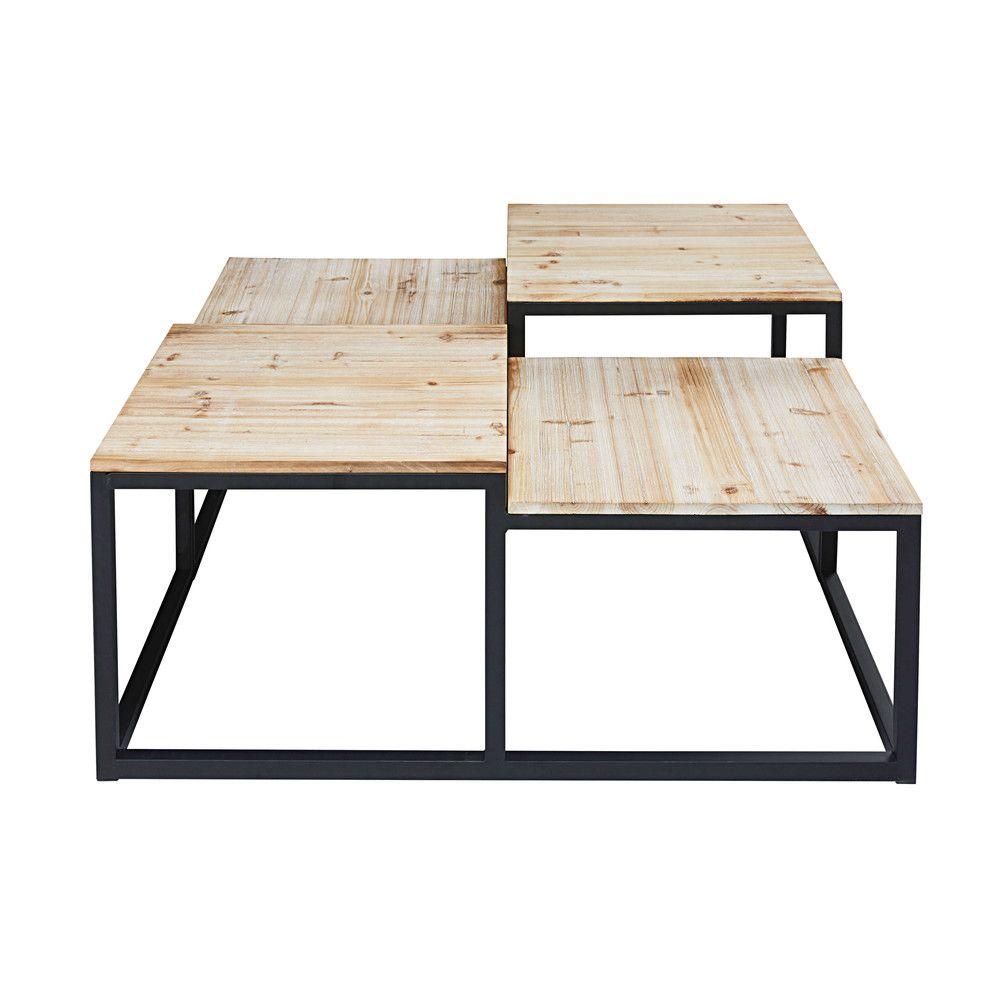 table basse indus 4 plateaux en sapin massif et m tal. Black Bedroom Furniture Sets. Home Design Ideas