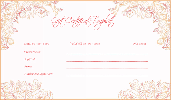 Wedding Gift Certificate Pink 9945 Doc Formats Gift Card Template Gift Certificate Template Birthday Invitation Card Template