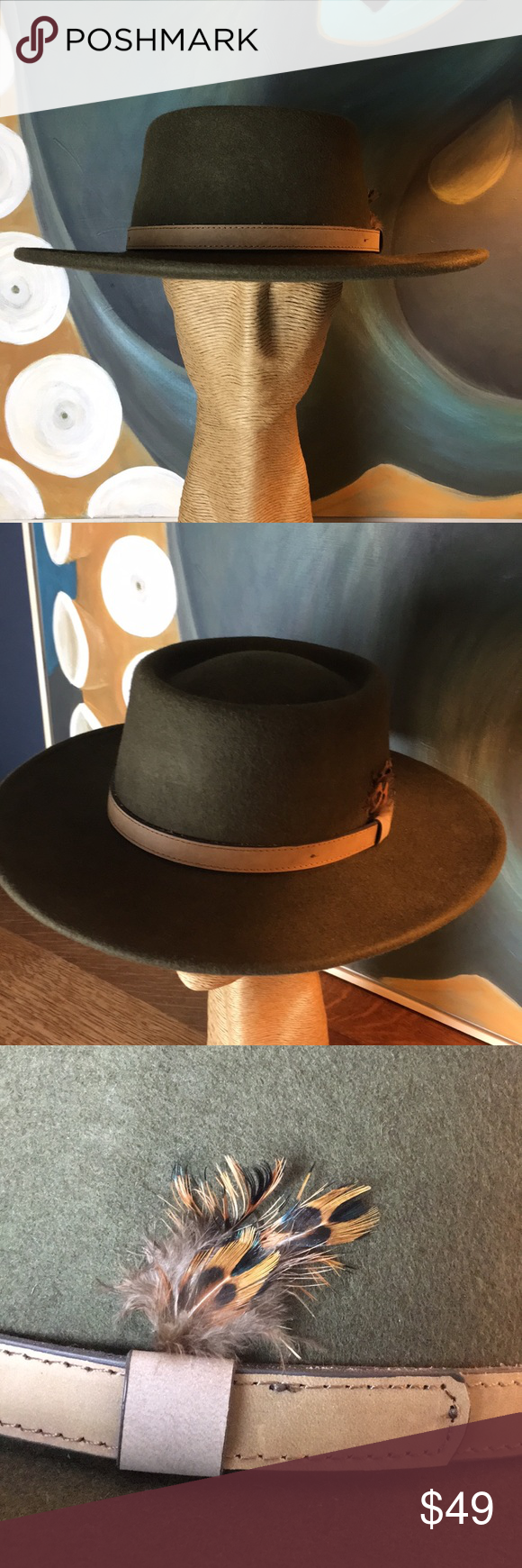 Flat Brim Bolero Gaucho Hat Faux Leather Belts Brim Faux Leather