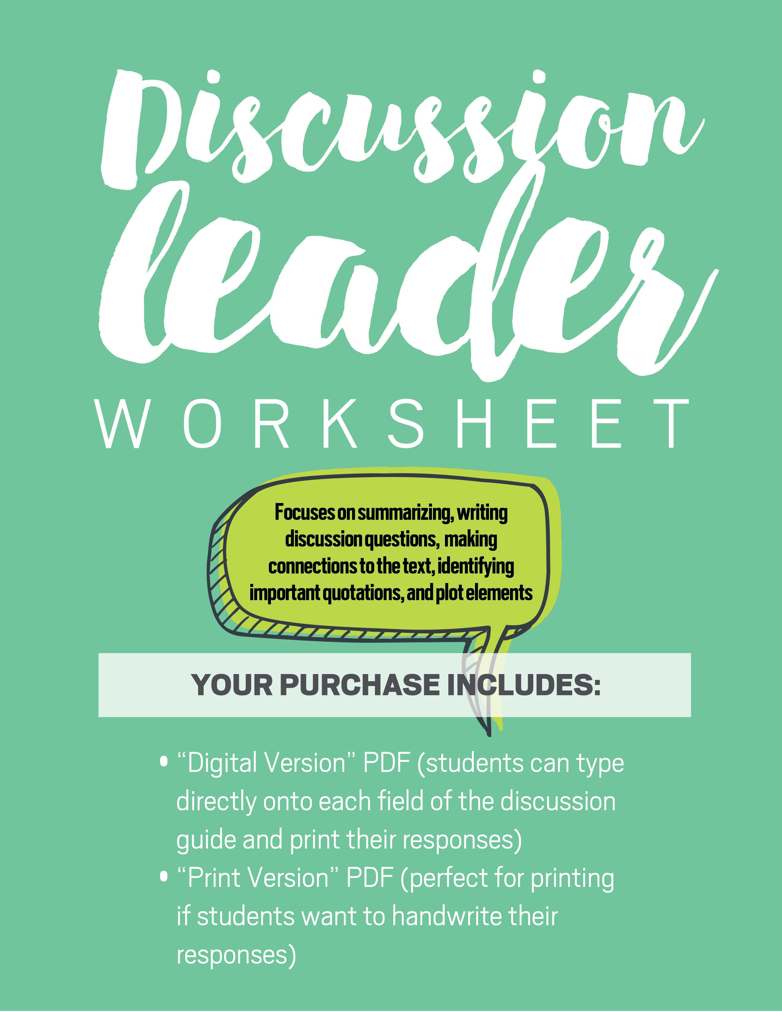 Novel Discussion Leader Worksheet