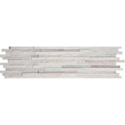 Emser White Mini Stacked 6 In X 24 Quartzite Slate Floor And Wall TileMosaic TilesSlateNatural StonesHome DepotPark CityBacksplashDining Room