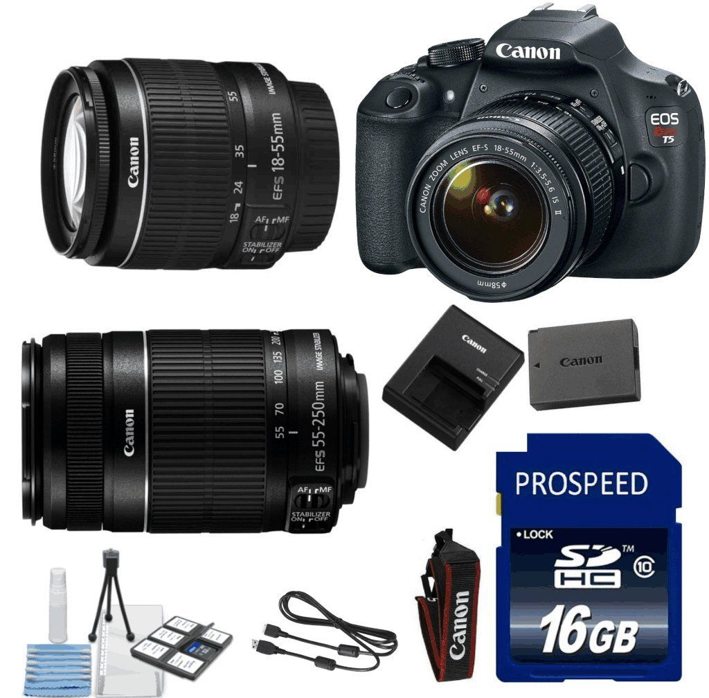 Canon T5 Digital Slr Camera 18 55mm Is Lens 55 250 Is Telephoto Lens 16gb Memory 6pc Stater Kit In Best Digital Camera Digital Slr Camera Digital Slr