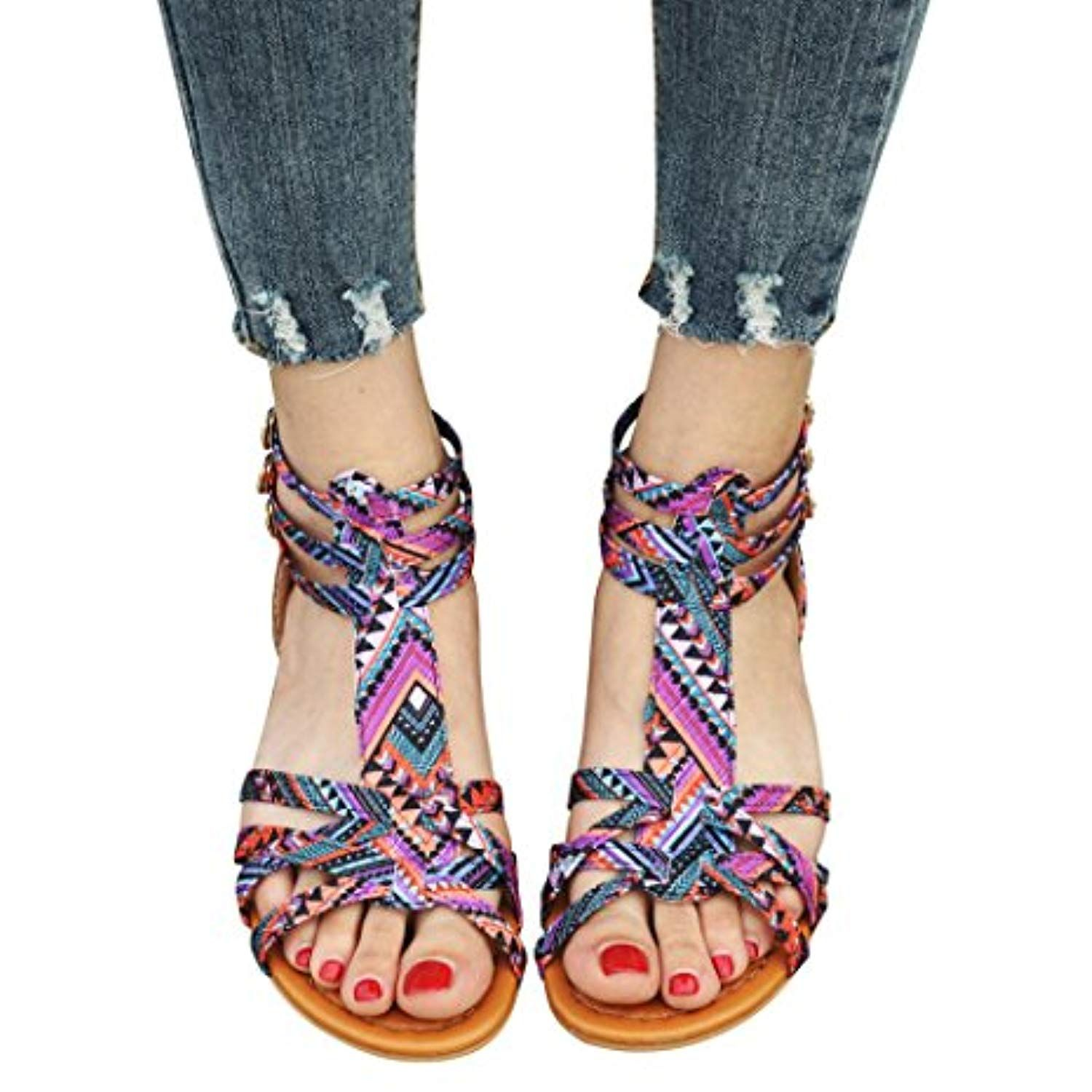 a54f2b70672d3 Baigoods Women Bohemia Sandals Ethnic Style Sandals Flats Shoes Buckle  Strap Summer Flat Sandals     Continue to the product at the image link.