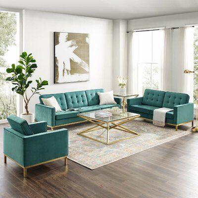 Everly Quinn Kwak 3 Piece Living Room Set Wayfair In 2020 Retro Modern Living Room 3 Piece Living Room Set Living Room Sets