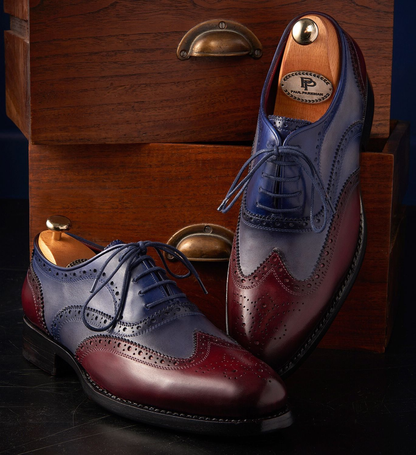 Paul Parkman Wingtip Oxfords Goodyear Welted Bordeuax Grey