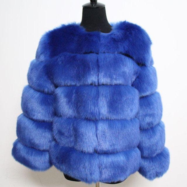 2015 Hot-Selling Winter coat long Striped Faux Fur Coat Luxury Fox Fur Coats Women Fashion Fur Overcoat